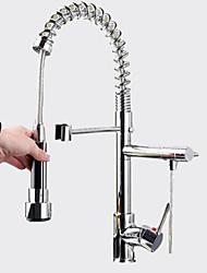 abordables -Moderne Pull-out / Pull-down Montage Avec spray démontable Soupape céramique 1 trou Mitigeur un trou Chrome, Robinet de Cuisine