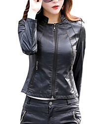 cheap -Women's Plus Size Leather Jacket - Solid Colored Stand