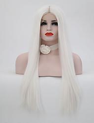 billiga -Syntetiska snörning framifrån Rak Syntetiskt hår Vit Peruk 13 cm Spetsfront Vit