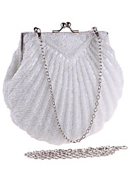 cheap -Bags Polyester Evening Bag Pearl Detailing for Wedding Event/Party All Seasons White Black