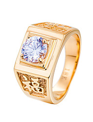preiswerte -Herrn Strass Bandring - Geometrische Form Freizeit Cool Gold Silber Ring Für Hochzeit Party