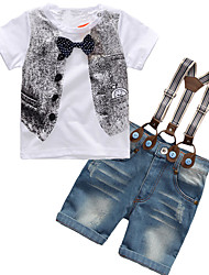 cheap -Boys' Daily Sports Going out Holiday School Solid Galaxy Print Clothing Set, Cotton Acrylic Short Sleeve Simple Vintage Cute Casual Active