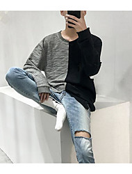 cheap -Men's Linen Sweatshirt - Solid, Pleated