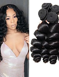 cheap -Brazilian Hair Loose Wave Human Hair Weaves 4pcs Natural Color Hair Weaves