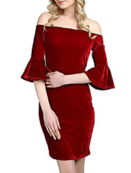 cheap -Women's Basic Velvet Slim Sheath Dress - Solid Color Strapless