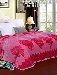 Недорогие -Коралловый флис, С принтом Цветочный принт Хлопок/полиэфир Полиэстер одеяла