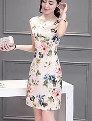 abordables -Femme Grandes Tailles Chinoiserie Mince Gaine Robe Fleur Au dessus du genou