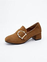 Mulheres Sapatos Couro Ecológico Primavera Outono Conforto Saltos Salto Robusto para Ao ar livre Preto Marron Khaki