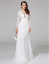 cheap -Product Sample Sheath / Column Plunging Neck Sweep / Brush Train Chiffon / Floral Lace Made-To-Measure Wedding Dresses with Buttons / Lace