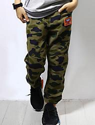 abordables -Pantalons Garçon Quotidien Couleur Pleine Coton Lin Fibre de bambou Acrylique Printemps Sans Manches simple Rétro Vert Véronèse