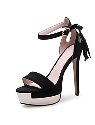 preiswerte -Damen Schuhe Beflockung Frühling Sommer Pumps Sandalen Stöckelabsatz Offene Spitze Schnalle für Büro & Karriere Party & Festivität