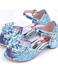 cheap -Girls' Shoes Sparkling Glitter Summer Comfort / Novelty / Flower Girl Shoes Sandals Rhinestone / Bowknot / Buckle for Blue / Pink