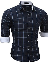cheap -Men's Basic Plus Size Cotton / Polyester Slim Shirt - Check / Please choose one size larger according to your normal size. / Long Sleeve