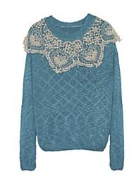 Недорогие -Жен. Длинный рукав Пуловер - Однотонный, Классический