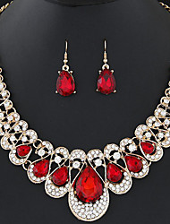 cheap -Women's Rhinestone Crystal Drop Jewelry Set 1 Necklace / Earrings - Fashion / Sweet Geometric Red / Blue / Champagne Drop Earrings /
