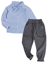 cheap -Girls' Daily Striped Clothing Set, Polyester Spring Long Sleeves Vintage Light Blue