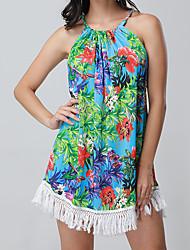 abordables -Mujer Básico Vaina Vestido - Estampado, Floral Sobre la rodilla