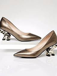 cheap -Women's Shoes Cowhide Nappa Leather Spring Fall Comfort Heels Chunky Heel for Casual Gold Black