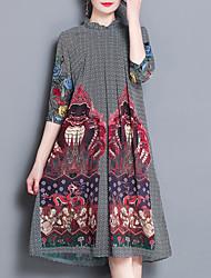 abordables -Mujer Corte Ancho Vestido - Estampado, Floral Escote Chino