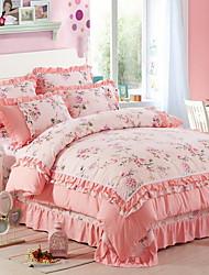 Poplun Cover Sets Cvjetni print 4 komada Poly/Cotton Polyster Jacquard Poly/Cotton Polyster 1pc duvet Cover 2kom Shams 1pc Stan list