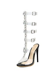 economico -Per donna Scarpe Lustrini Primavera / Estate Innovativo Sandali A stiletto Punta aperta Fibbia Bianco / Nero / Serata e festa