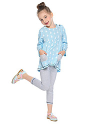 cheap -Girls' Daily School Solid Colored Striped Clothing Set, Modal Spring Fall Long Sleeves Simple Chinoiserie Blushing Pink Light Blue Light