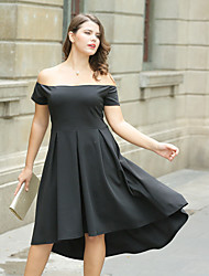 cheap -Women's Plus Size A Line Little Black Skater Dress - Solid Colored Ruched High Waist Asymmetrical Off Shoulder