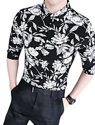 preiswerte -Herrn Blumen - Retro Street Schick Hemd