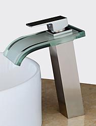 Недорогие -Современный По центру Водопад Керамический клапан Одно отверстие Одной ручкой одно отверстие Матовый никель, Ванная раковина кран
