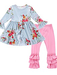 cheap -Girls' Daily Holiday Floral Clothing Set, Cotton Polyester Spring Fall Long Sleeves Active Light Blue
