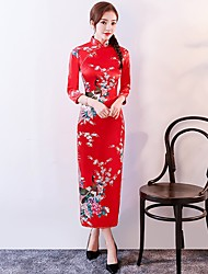 cheap -Cosplay Dress Party Costume Pencil Dress Women's Festival / Holiday Halloween Costumes Outfits Blue / Pink / Red Floral / Botanical Uniforms & Cheongsams Chinese Style