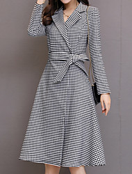 cheap -Women's Cute Cotton Trench Coat - Solid Colored Striped Shirt Collar