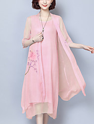 abordables -Femme Chinoiserie Ample Deux Pièces Robe - Imprimé, Fleur Midi