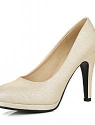 baratos -Mulheres Sapatos Courino Primavera Outono Inovador Conforto Saltos Salto Agulha Ponta Redonda para Casual Festas & Noite Dourado Prata