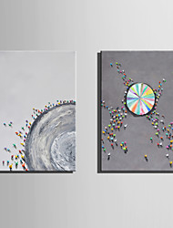 abordables -Pintura al óleo pintada a colgar Pintada a mano - Abstracto Paisaje Modern Lona