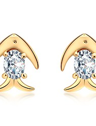 cheap -Women's Cubic Zirconia Stud Earrings - Zircon Fish, Animal Fashion Gold / Silver For Daily / Office & Career