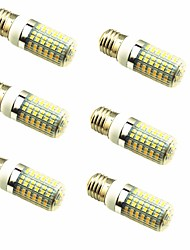 economico -6pcs 4W 600lm E26 / E27 LED a pannocchia T 96 Perline LED SMD 2835 Decorativo Bianco caldo 220-240V
