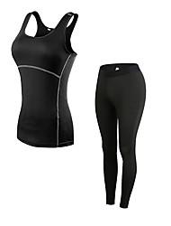 baratos -Mulheres activewear Set - Azul, Vermelho / Branco, Cinzento Esportes Sólido Leggings / Conjuntos de Roupas Fitness Sem Manga / Pant Long Roupas Esportivas Respirabilidade Com Stretch