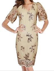 Недорогие -Жен. Оболочка Платье - Цветочный принт, Классический V-образный вырез