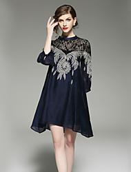cheap -SHE IN SUN Women's Basic A Line Dress - Color Block, Lace