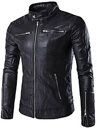 cheap -Men's Punk & Gothic Plus Size Leather Jacket - Solid Colored Stand