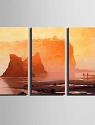 Недорогие -Ручная роспись Пейзаж Вертикальная, Modern Hang-роспись маслом Украшение дома 3 панели