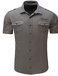 cheap Weekly Deals-Men's Street chic Cotton Shirt - Solid Colored Print / Short Sleeve