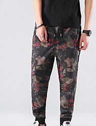 Недорогие -мужские штаны среднего роста микро-эластичные брюки из шиньонов, простой цветочный полиэстер / хлопчатобумажная смесь весна