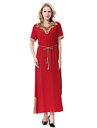 abordables -Femme Grandes Tailles Basique / Bohème Ample Robe Couleur unie Col en V Maxi