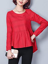 economico -t-shirt da donna semplice primavera autunno femminile, collo tondo in poliestere a maniche lunghe