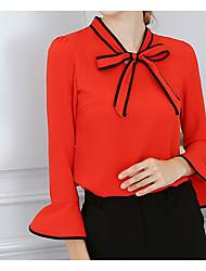 abordables -Mujer Bonito Básico Blusa Un Color Manga de la llamarada