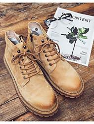 Homens sapatos Couro de Porco Inverno Outono Coturnos Conforto Botas Botas Curtas / Ankle para Casual Preto Cinzento Camel