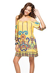 cheap -Women's Beach Boho Batwing Sleeve Loose Loose Dress - Floral Backless Print Strap Off Shoulder