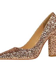 Недорогие -Жен. Обувь Лак Полиуретан Лето Осень Туфли лодочки Удобная обувь Обувь на каблуках На толстом каблуке Закрытый мыс Заостренный носок Лак